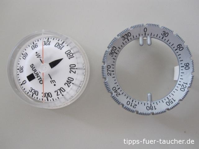 Kompasskapsel und Einstellrad für die Gradzahl