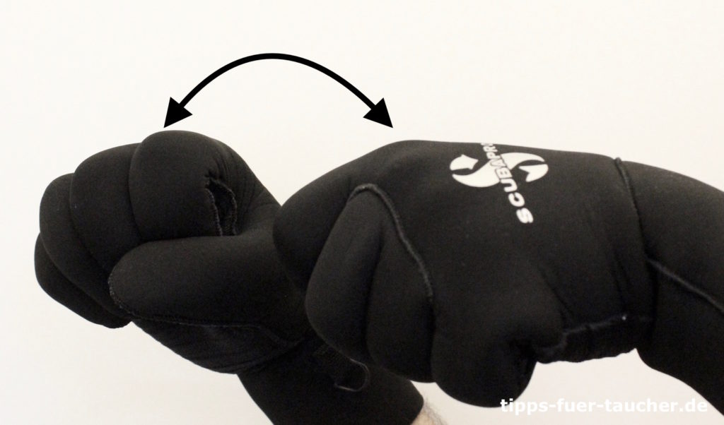 Defekt anzeigen Handzeichen für Taucher