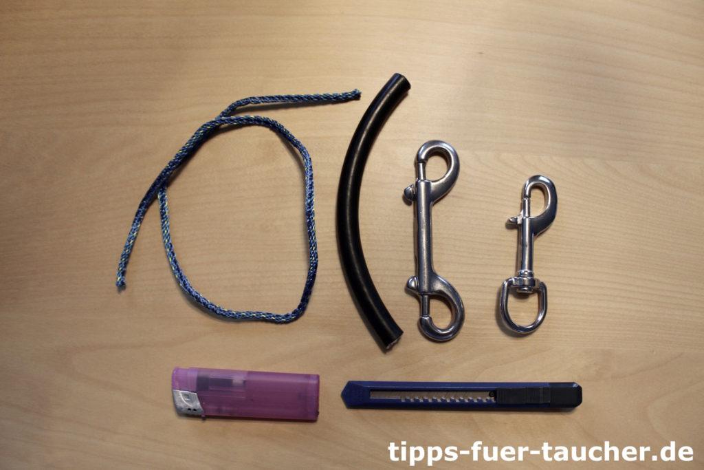 Einzelteile und Werkzeuge für die Leash