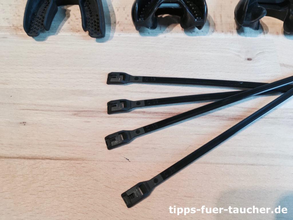Kabelbinder mit flachem Kopf zum Befestigen des Mundstücks
