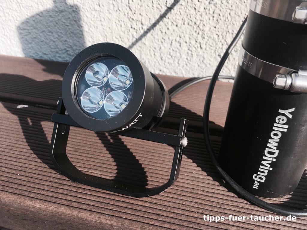 20W LED Lampenkopf und 10Ah Akkutantk von Yellow Diving- sehr empfehlenswert