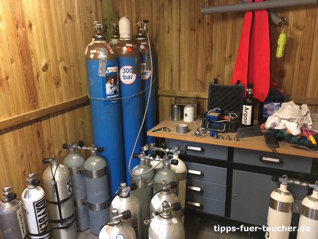 Gaslogistik für technische Taucher