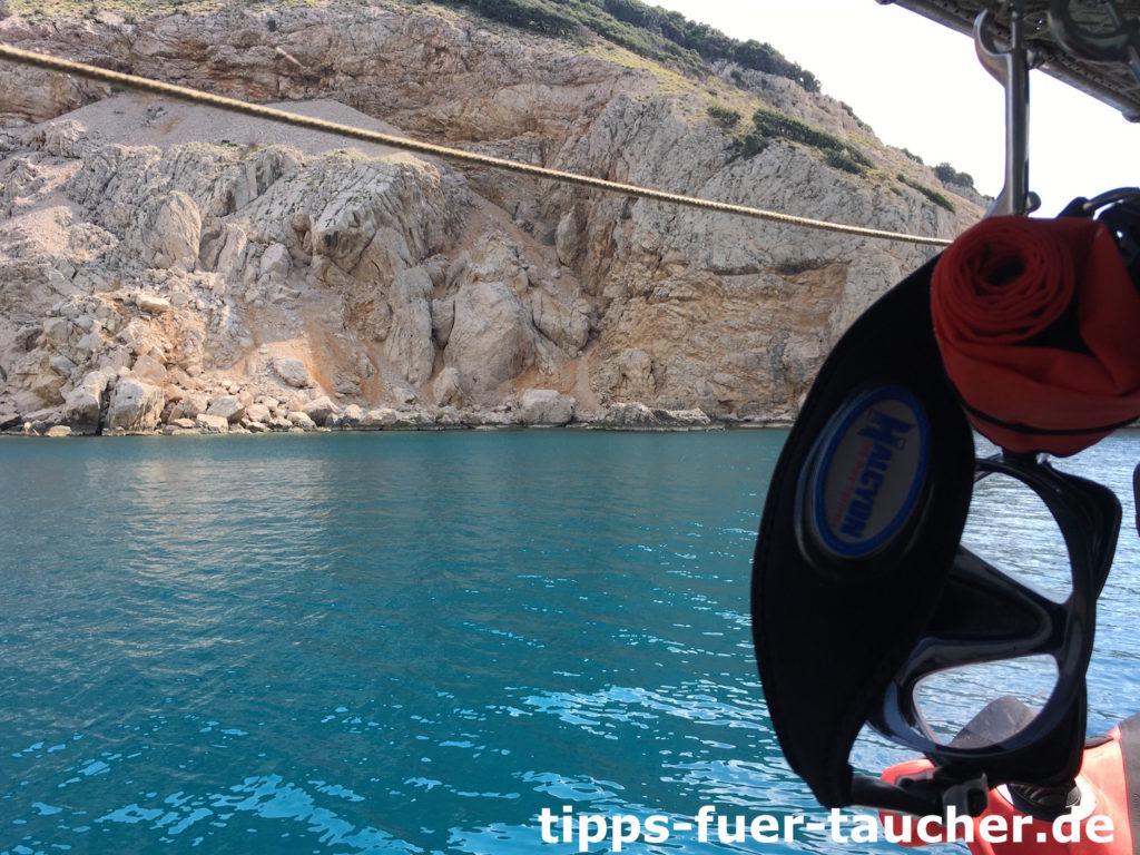Hafenausfahrt Polin Luca auf dem Weg zum Wrack der Kalliopi
