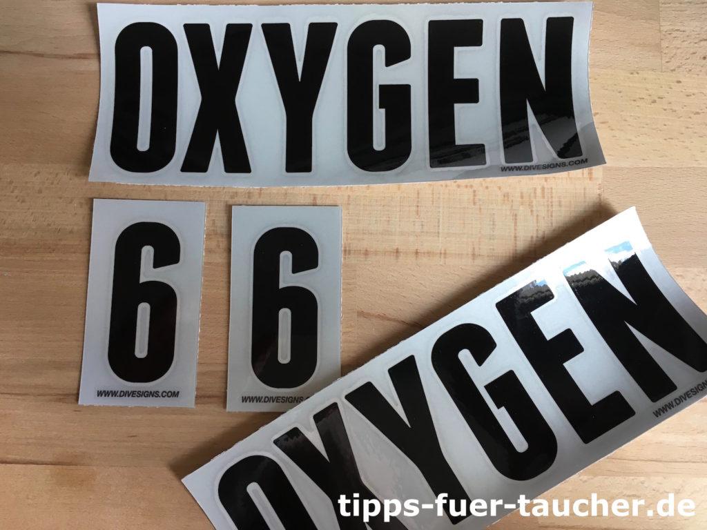 Label für Sauerstoffflasche